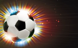 Soccer ball and fireworks Royalty Free Stock Photography