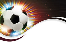 Soccer ball and fireworks Stock Photography