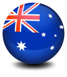 A soccer ball with the flag of Australia Stock Photos