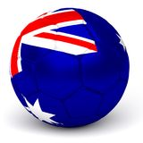 Soccer Ball With Australian Flag 3D Render. A soccer ball with flag of australia, isolated on white Stock Images