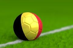 Soccer Ball With Belgian Flag 3D Render Stock Image