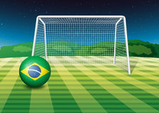 A soccer ball with the flag of Brazil Royalty Free Stock Images