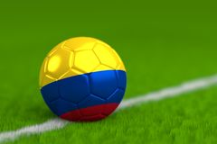 Soccer Ball With Colombian Flag 3D Render Stock Photography