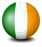 A soccer ball with the flag of Ireland Royalty Free Stock Photos