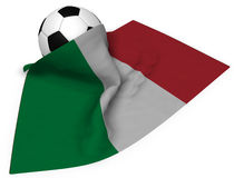 Soccer ball and flag of italy Stock Images