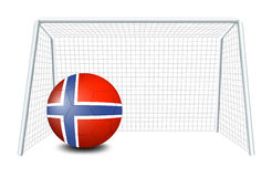 A soccer ball with the flag of Norway. Illustration of a soccer ball with the flag of Norway on a white background Stock Images
