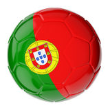 Soccer ball. Flag of Portugal. Football/soccer ball with flag of Portugal. 3D render Stock Illustration