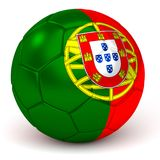 Soccer Ball With Portuguese Flag 3D Render Royalty Free Stock Images