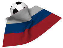 Soccer ball and flag of russia Stock Photo