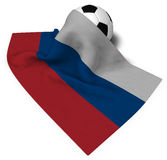 Soccer ball and flag of russia Royalty Free Stock Image