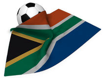 Soccer ball and flag of south africa Royalty Free Stock Image