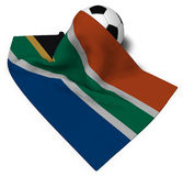 Soccer ball and flag of south africa Stock Photography