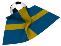 Soccer ball and flag of sweden Stock Image
