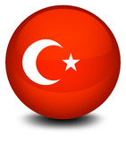 A soccer ball with the flag of Turkey Royalty Free Stock Photography