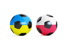 Soccer ball flag Ukraine and Poland Stock Image