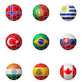 Soccer ball flag. On a white background Stock Image