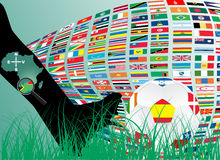 Soccer ball with flags Royalty Free Stock Photos