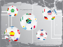 Soccer ball with flags. Soccer balls with different national flag stock illustration