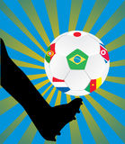 Soccer ball with flags Royalty Free Stock Images
