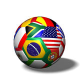 Soccer Ball Flags. Image of a soccer ball with flags from various countries isolated on a white background Stock Photo