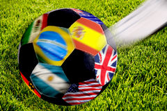 Soccer ball with flags royalty free stock image