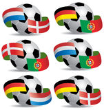 Soccer ball with flags Stock Images