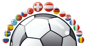Soccer ball with flags. Of European countries Stock Photos