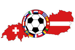 Soccer ball with flags. Ball with flags on the background of Austria and Switzerland, EURO 2008 Royalty Free Stock Photos