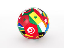 Soccer ball with flags of the African countries. 3d rendering of a soccer ball with flags of the African countries Royalty Free Stock Photography