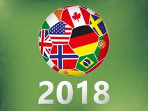 Soccer ball with flags any countries on abstract green background. Football world. realistic style. vector illustration Royalty Free Stock Photography