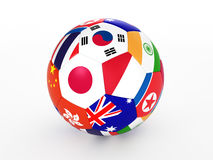 Soccer ball with flags of the Asian countries. 3d rendering of a soccer ball with flags of the Asian countries Stock Photo