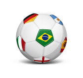 Soccer ball with flags Royalty Free Stock Photography