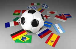 Soccer ball with flags, Soccer competition. Soccer ball with different flags, World soccer competition, 3d renderring Stock Image