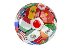 Soccer ball with flags of countries Royalty Free Stock Photo
