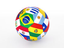 Soccer ball with flags of the countries of South America. 3d rendering of a soccer ball with flags of the countries of South America Royalty Free Stock Images