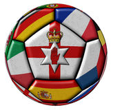 Soccer ball with flags - flag of Northen Ireland in the center Royalty Free Stock Photos