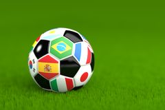Soccer Ball With Flags 3D Render Stock Photos