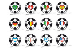 Soccer ball. With flags in a heart Royalty Free Stock Images