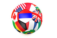 Soccer ball with flags Royalty Free Stock Photo