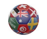 Soccer Ball with Flags isolated on white background, Australia in the center, 3d rendering. stock illustration