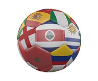 Soccer Ball with Flags isolated on white background, Costa Rica in the center, 3d rendering. stock illustration