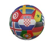 Soccer Ball with Flags isolated on white background, Croatia in the center, 3d rendering. Soccer Ball with Flags isolated on white background, Croatia in the Stock Image
