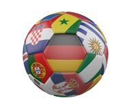 Soccer Ball with Flags isolated on white background, Germany in the center, 3d rendering. Soccer Ball with Flags isolated on white background, Germany in the Royalty Free Stock Photography