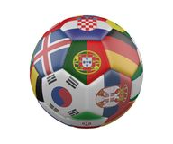 Soccer Ball with Flags isolated on white background, Portugal in the center, 3d rendering. Soccer Ball with Flags isolated on white background, Portugal in the Royalty Free Stock Photo