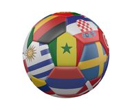 Soccer Ball with Flags isolated on white background, Senegal in the center, 3d rendering. Soccer Ball with Flags isolated on white background, Senegal in the Stock Images