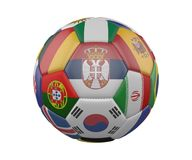 Soccer Ball with Flags isolated on white background, Serbia in the center, 3d rendering. Soccer Ball with Flags isolated on white background, Serbia in the Royalty Free Stock Photography