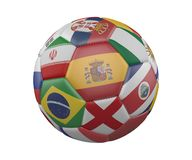 Soccer Ball with Flags isolated on white background, Spain in the center, 3d rendering. vector illustration