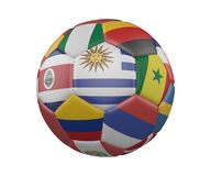 Soccer Ball with Flags isolated on white background, Uruguay in the center, 3d rendering. Soccer Ball with Flags isolated on white background, Uruguay in the Royalty Free Stock Images