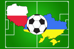 Soccer ball with flags of Poland and Ukraine. Of soccer ball with flags of Poland and Ukraine on soccer field background Stock Photography