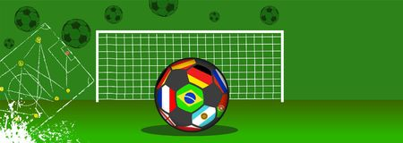 Soccer ball with flags of top national teams. And goal, football, soccer grungy style vector illustration or template. Free copy space Stock Photos